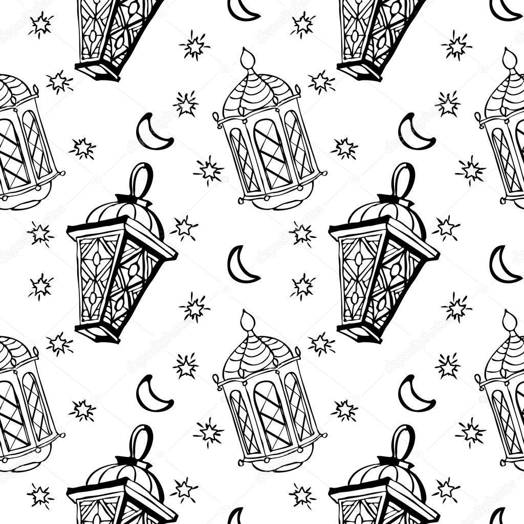 1024x1024 Different Arabic Lanterns Or Fanous Seamless Pattern Stock