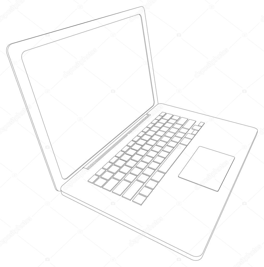 1013x1023 Drawing Of Wire Frame Open Laptop. Perspective View. Vector