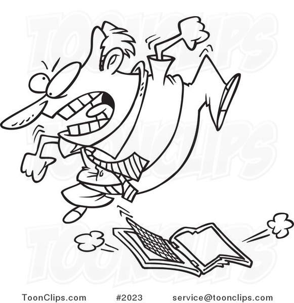 581x600 Cartoon Black And White Line Drawing Of A Frustrated Business Man