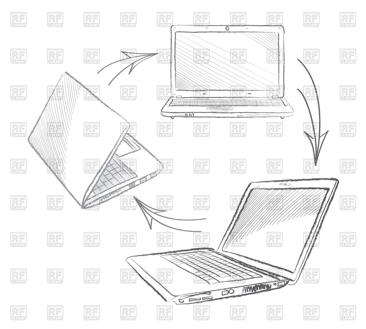 1200x1077 Laptop In Sketch Style From Different Views And Position Royalty