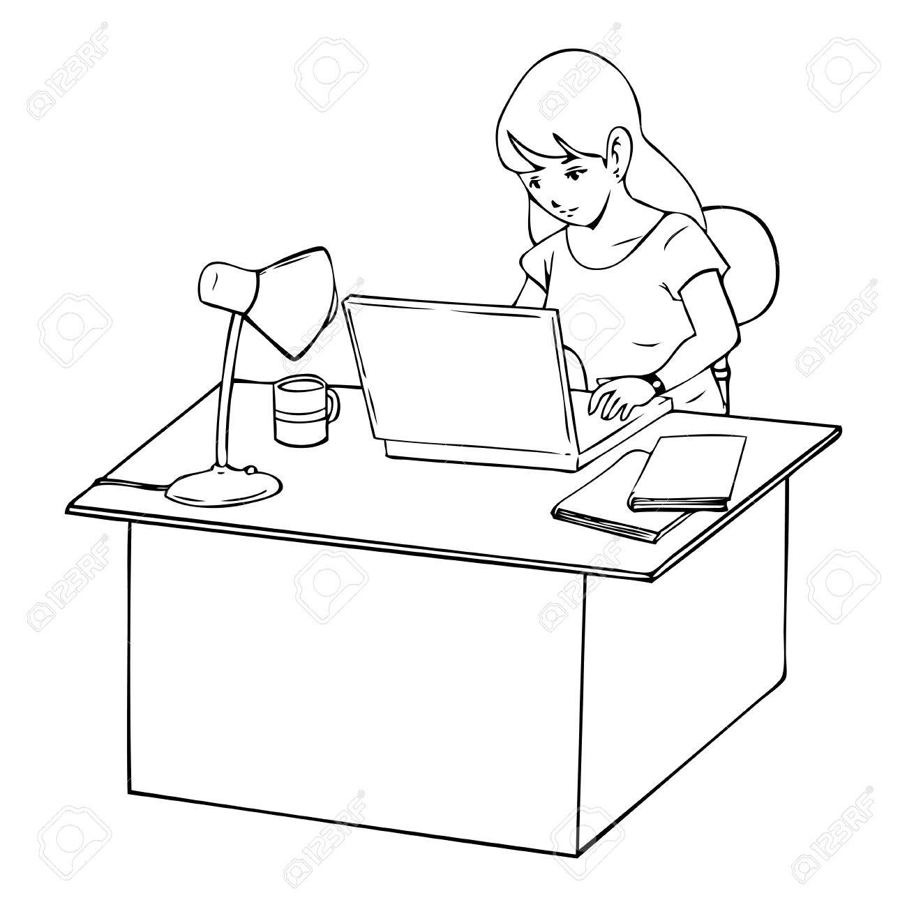 1300x1300 Line Art Illustration Of A Woman Working On Laptop Computer