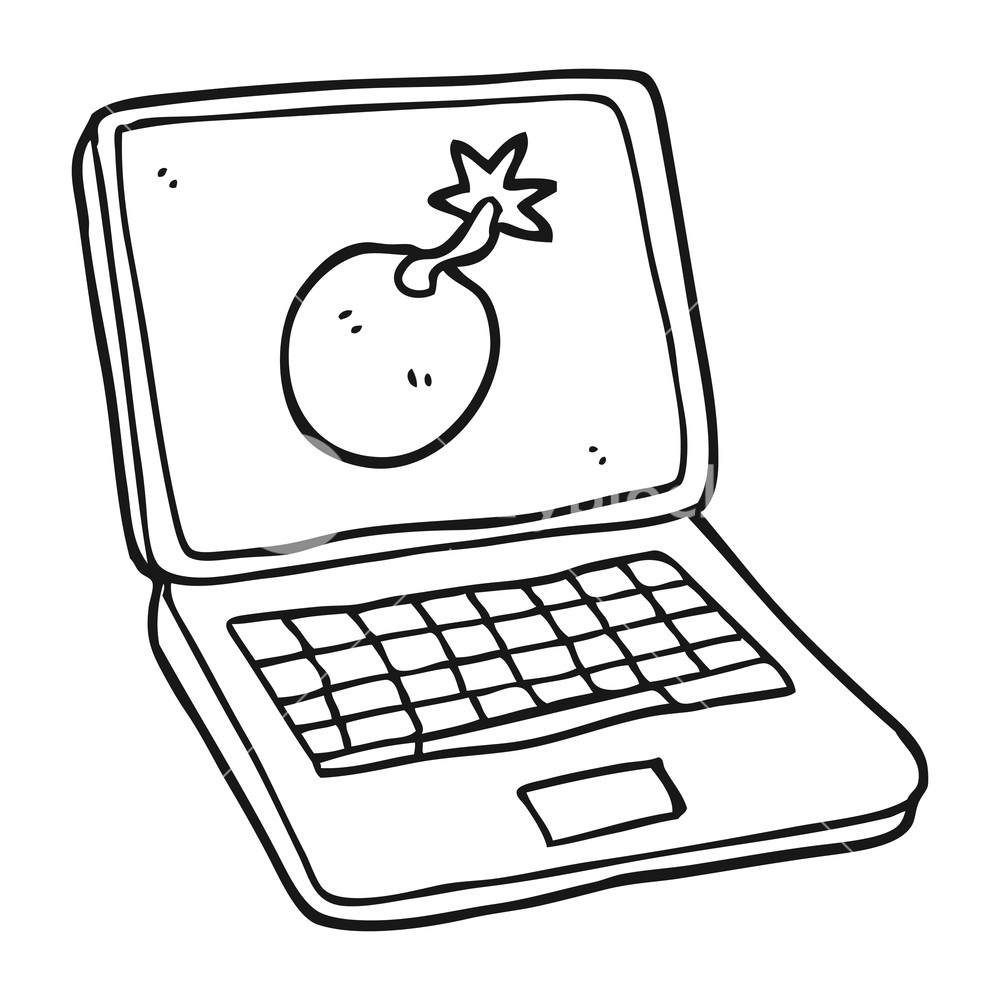 1000x1000 Freehand Drawn Black And White Cartoon Laptop Computer With Error