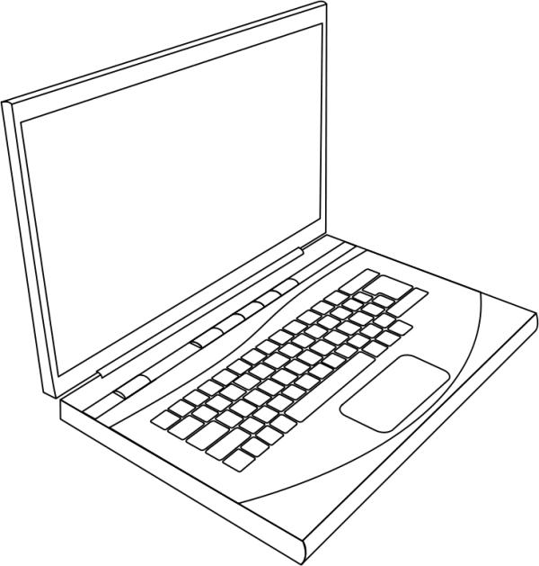 600x629 Laptop Line Art