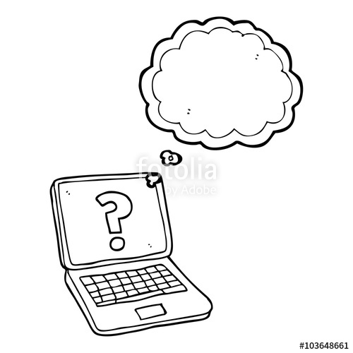 500x500 Thought Bubble Cartoon Laptop Computer With Question Mark Stock