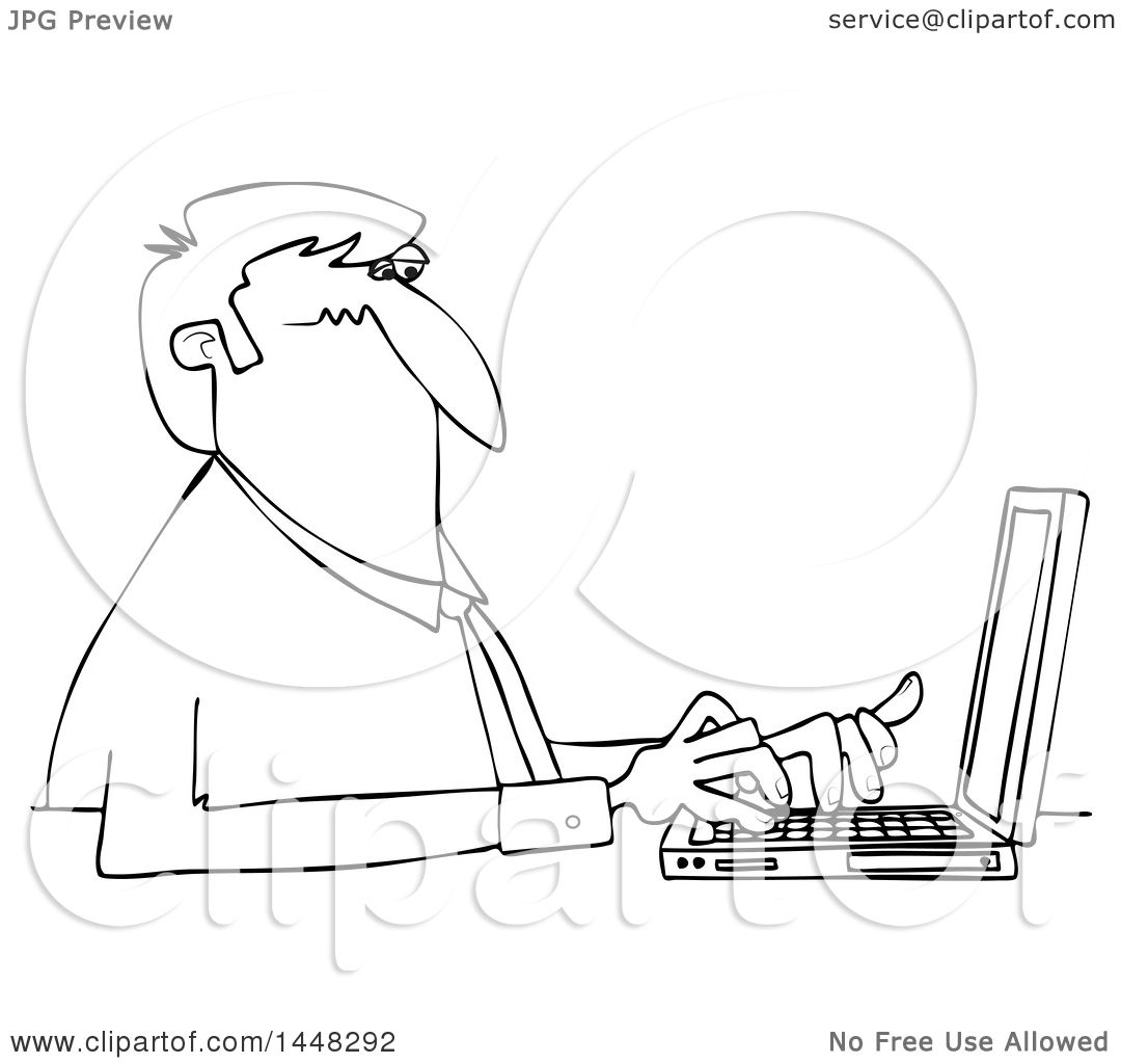 1080x1024 Clipart Of A Cartoon Black And White Lineart Business Man Typing
