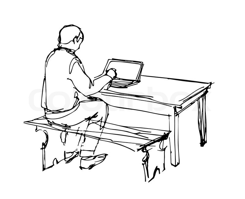 800x649 A Sketch Of A Man Working