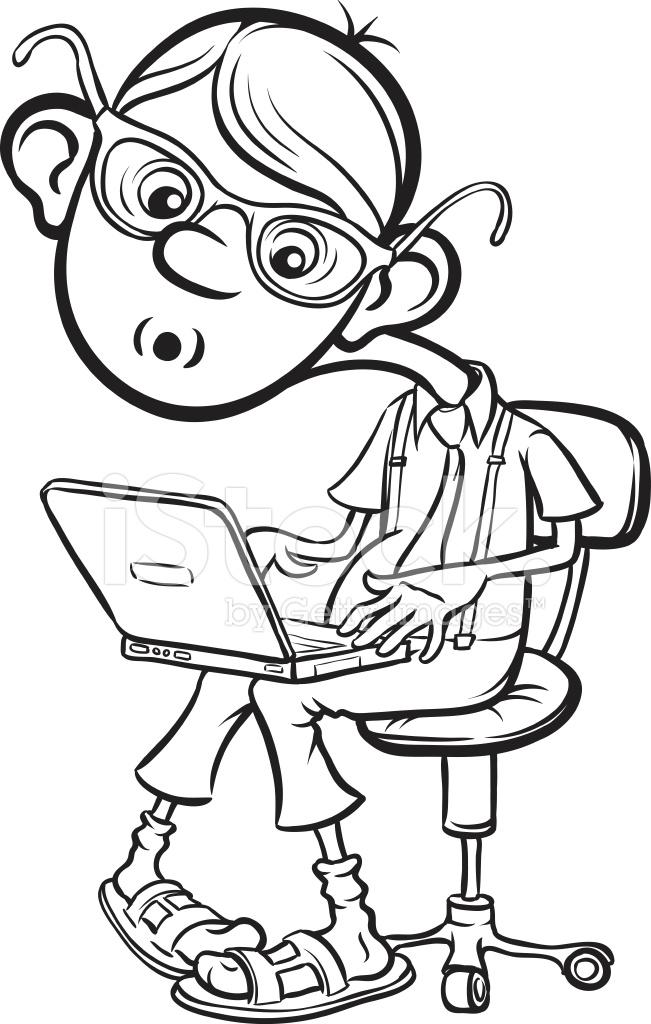 651x1024 Whiteboard Drawing Cartoon Geek Boy Sitting With Laptop Stock