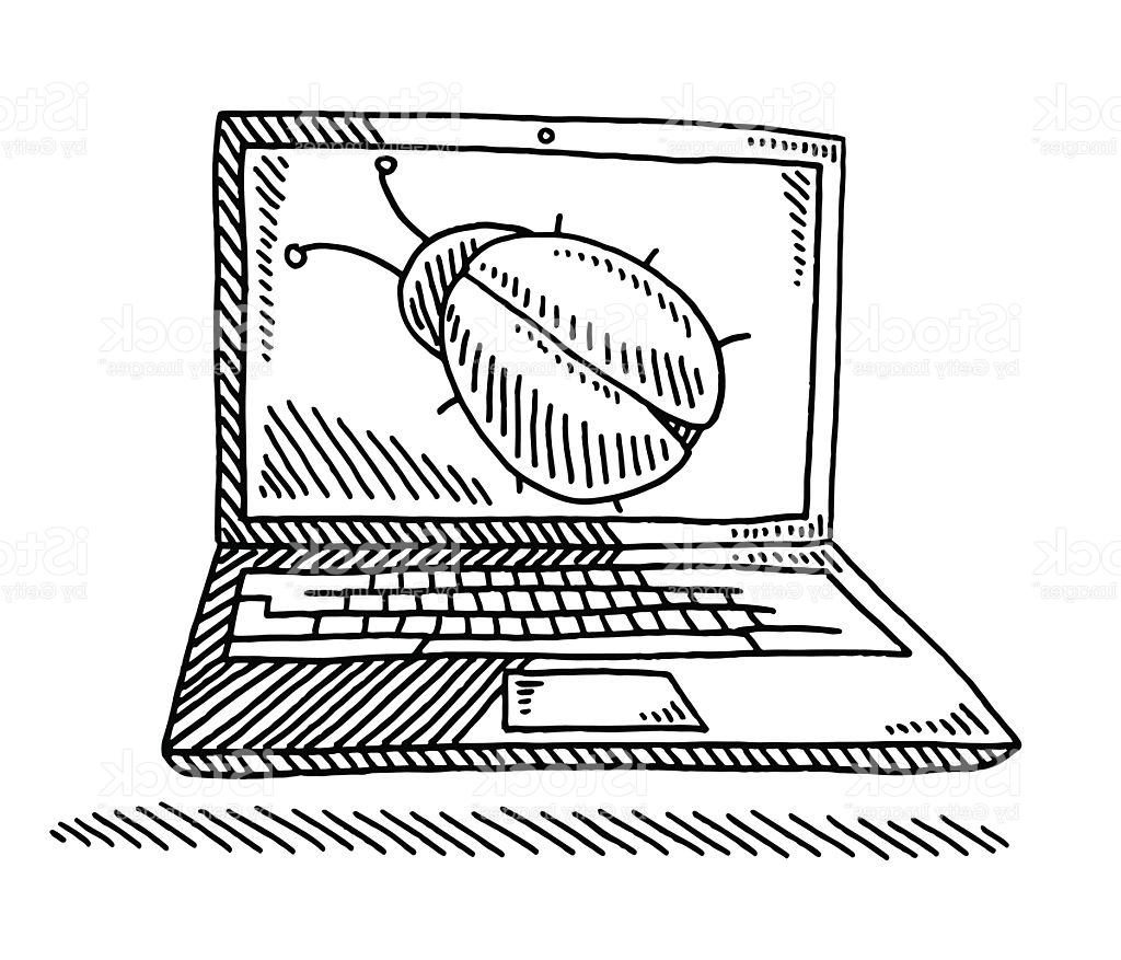 1024x877 Best Puter Bug On Laptop Screen Drawing Vector File Free