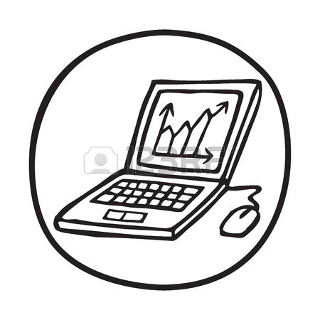 450x450 Doodle Icon Of Computer Monitor. Blue Pen Hand Drawn Infographic