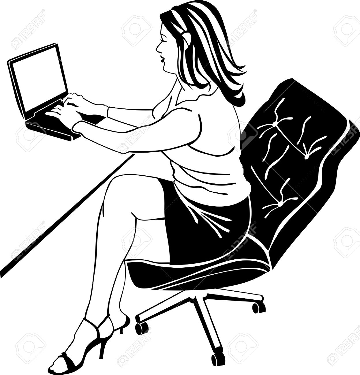 1248x1300 Girl Is Working On Laptop Royalty Free Cliparts, Vectors,