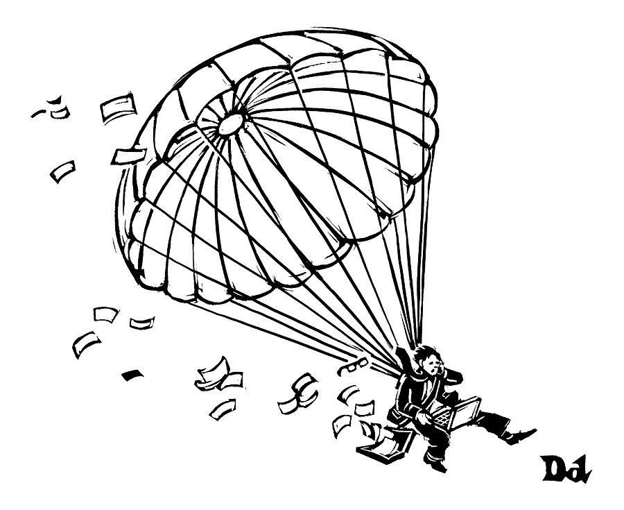 900x735 Man Parachuting While Working On His Laptop Drawing By Drew Dernavich