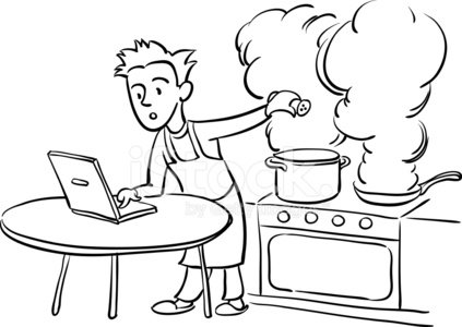 423x300 Whiteboard Drawing Man Cooking With Laptop Computer Stock Vectors
