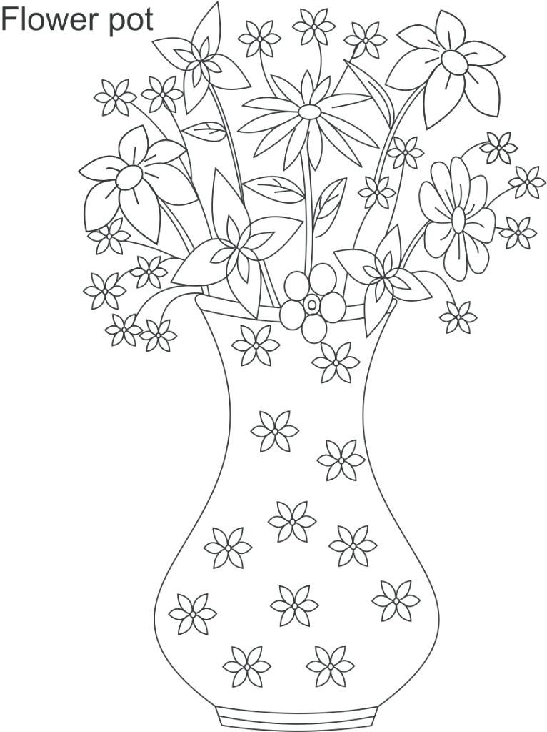 766x1024 Flower Pot Coloring Page Flower Pot Easy Drawing Large Flower Pot