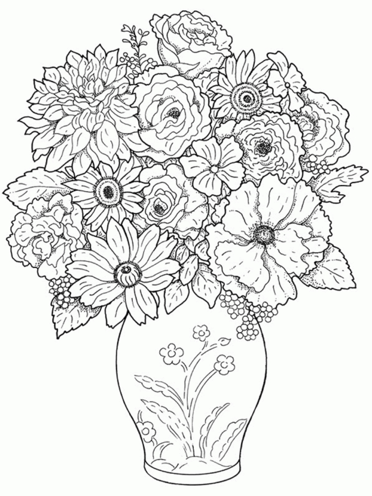 768x1024 Vase Beautiful Flower Vase With Flowers Drawing Pretty Flower