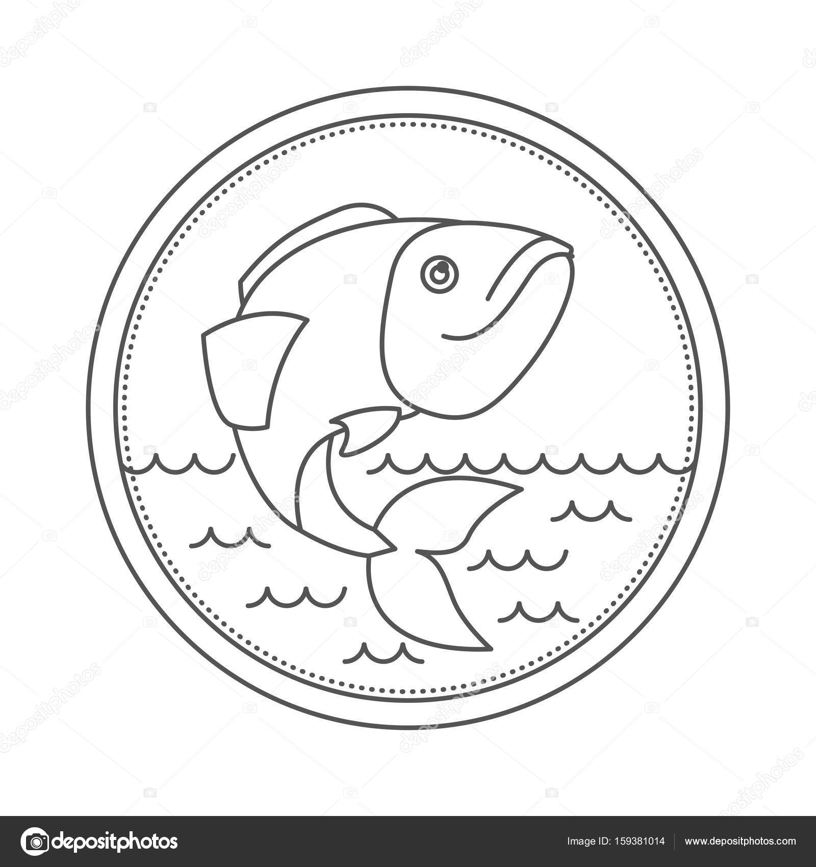 1600x1700 Sketch Silhouette Of Circular Emblem With Waves Of Sea