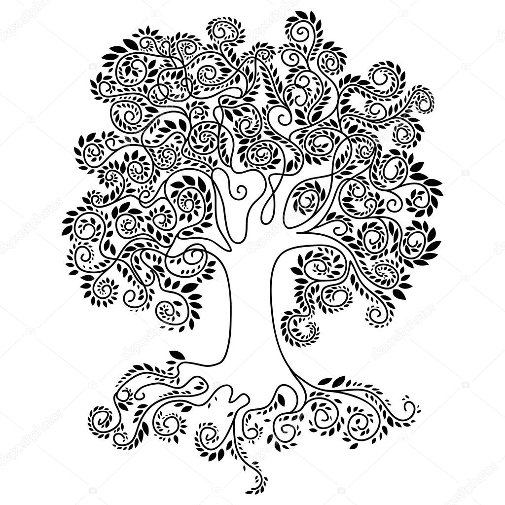 1024x1024 Large Tree With A Large Crown Consisting Of Small White Leaves