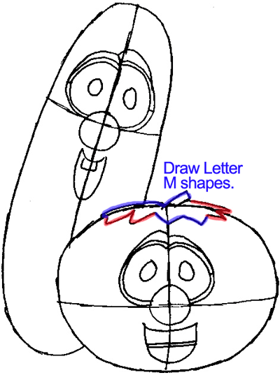 400x537 Step 6 Drawing Bob And Larry From Veggietales Easy Steps Lesson