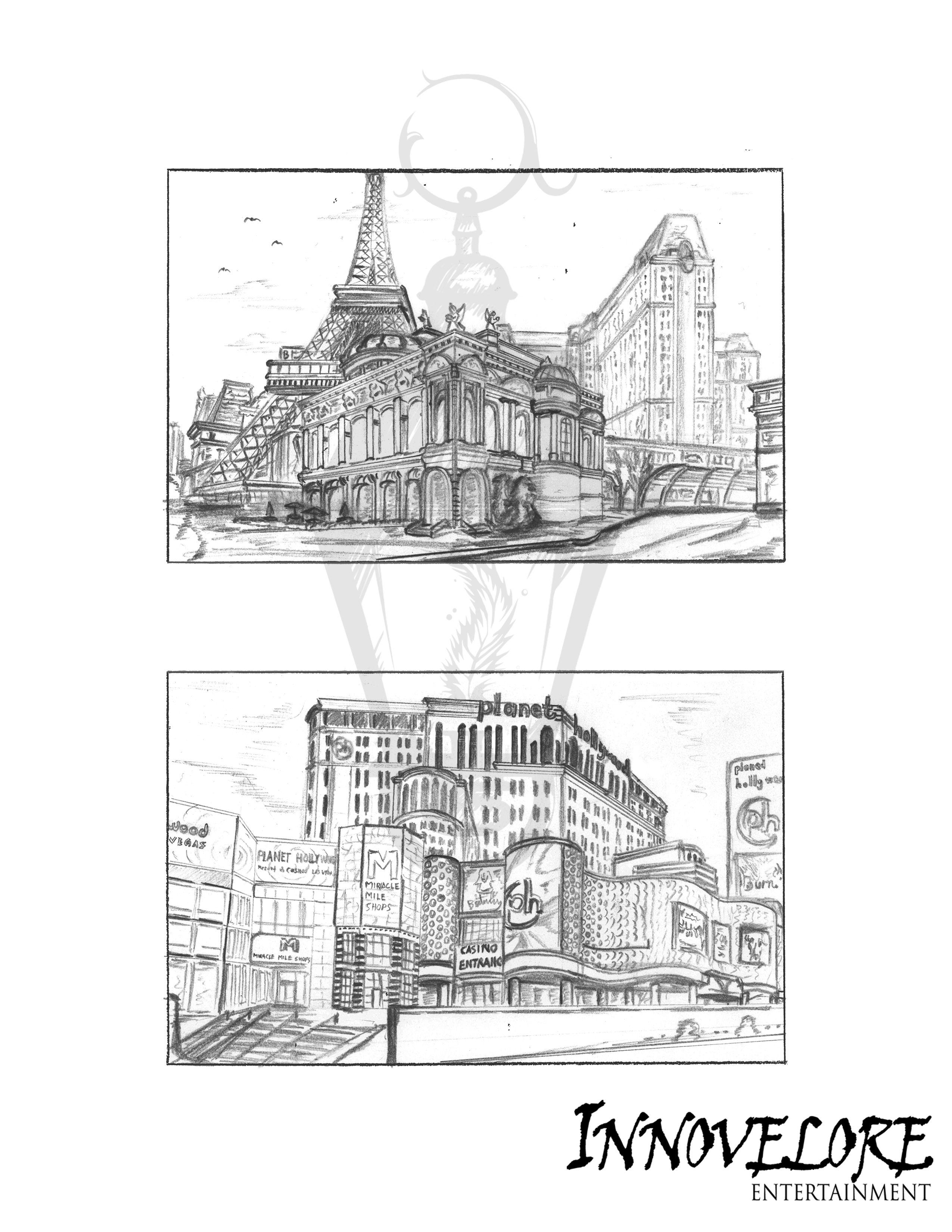 2550x3300 A Landscape Sketch Of A Part Of Las Vegas. The Illustration Was