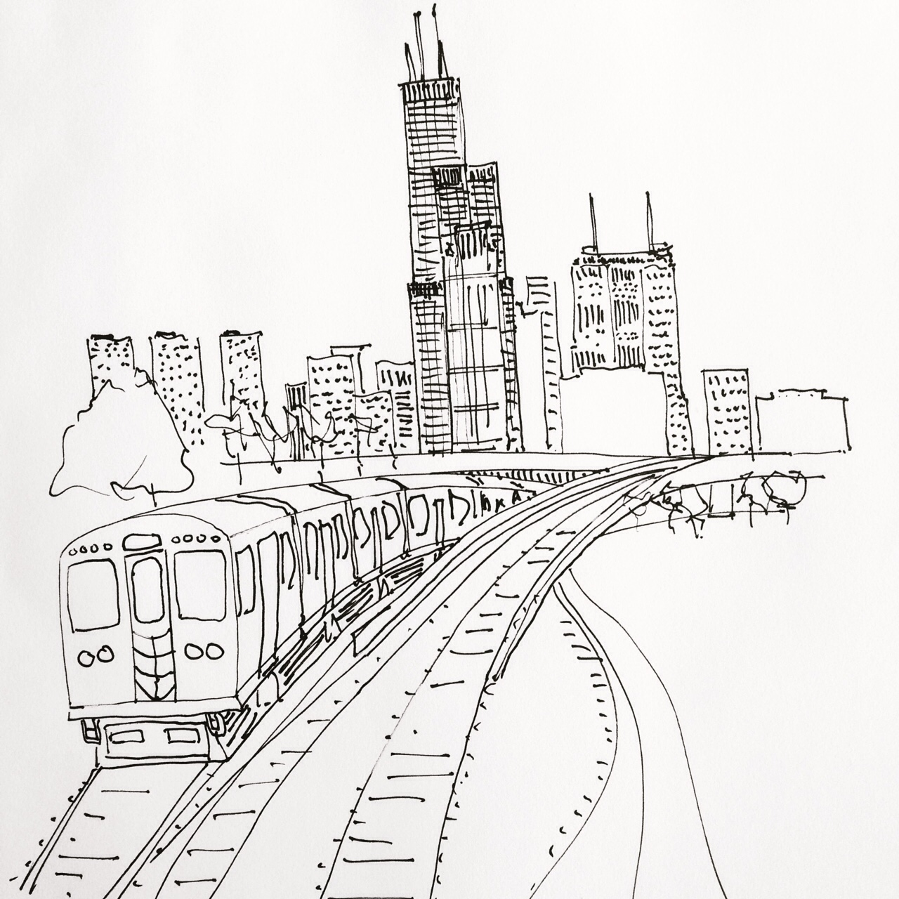 1280x1280 Sketchbook Art Of Chicago Skyline L Train Drawn In Pen