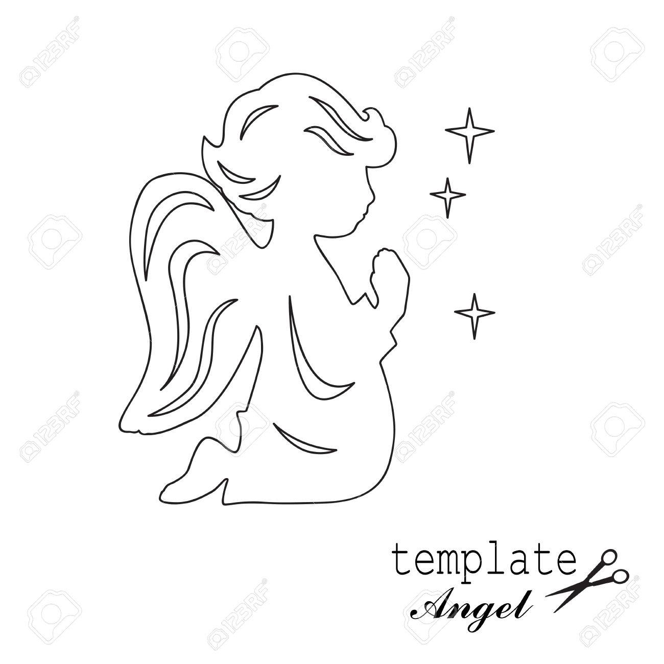 1300x1300 Template Angel For Cut Of Laser Or Engraved. Stencil For Paper