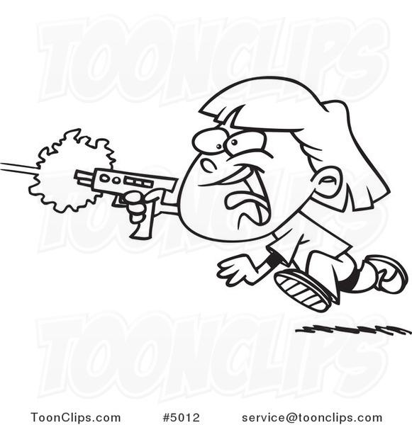 581x600 Cartoon Black White Line Drawing Of A Girl Shooting A Gun