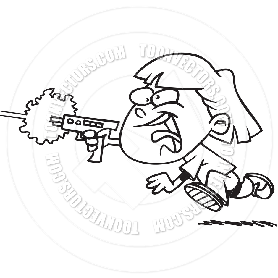 940x940 Cartoon Girl Laser Tag (Black And White Line Art) By Ron Leishman