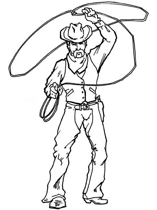 600x800 Cowboy, Cowboy Spinning Lasso Wide Coloring Page Cowboy Spinning