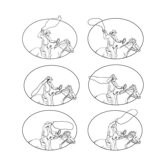 630x630 Cowboy Lasso Riding Horse Drawing Collection Set