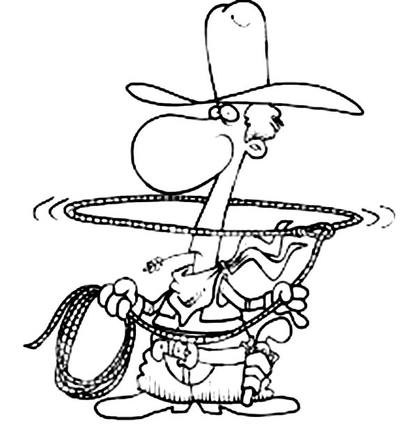 600x614 Cowboy Play With Lasso Coloring Page Coloring Sun