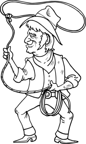 288x480 Cowboy Is Throwing The Lasso Loop Of Rope Coloring Page Free