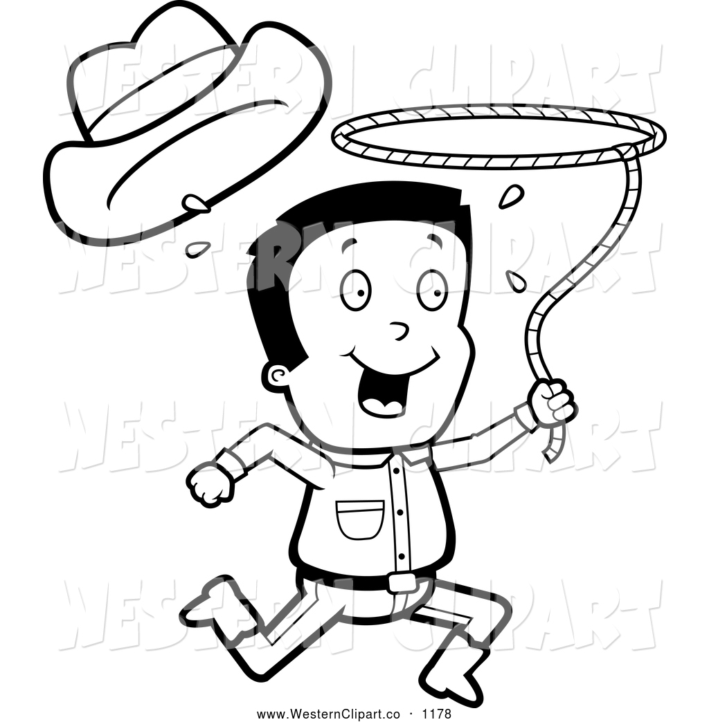 1024x1044 Vector Clip Art Of A Black And White Cowboy Running With A Lasso