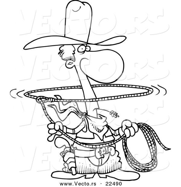 600x620 Vector Of A Cartoon Lasso Cowboy