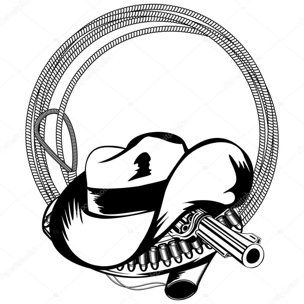 1024x1024 Cowboy Hat Lasso And Revolver Stock Vector Ss1001