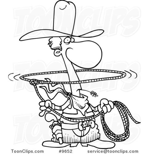 581x600 Cartoon Black And White Line Drawing Of A Lasso Cowboy