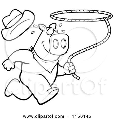 450x470 Cartoon Clipart Of Blacknd White Rodeo Pig Running