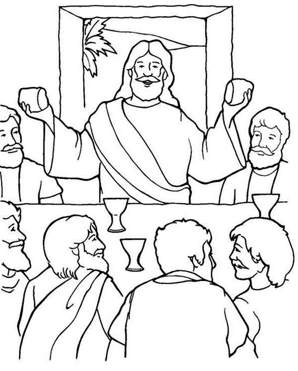600x746 Fascinating Last Supper Coloring Page 14 About Remodel Download