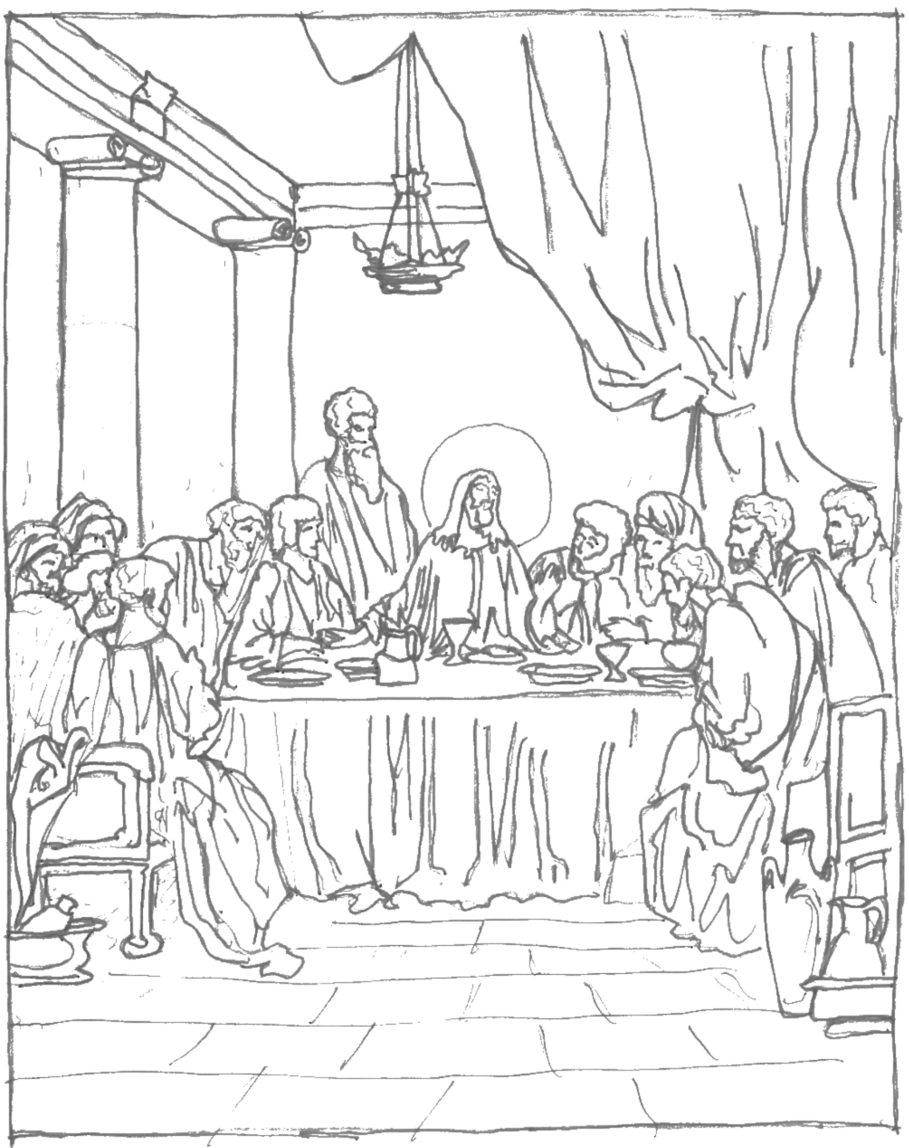 1784x2253 Free Coloring Page ~ The Last Supper