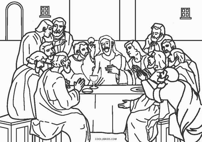 The Last Supper 650x458 Free Printable Jesus Coloring Pages For Kids Cool2bKids
