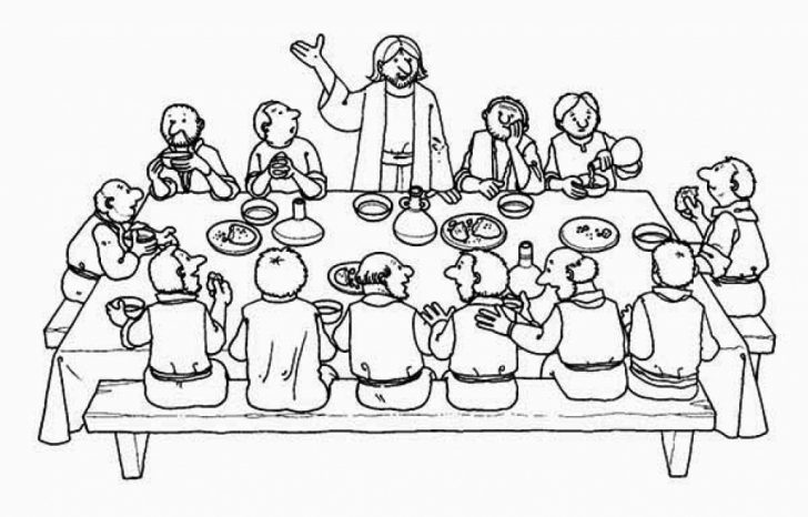 728x466 Last Supper Coloring Pages