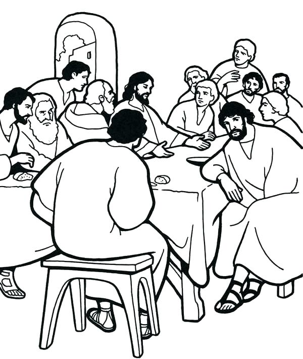 600x710 And His Followers In The Last Supper Colouring Page Coloring Super