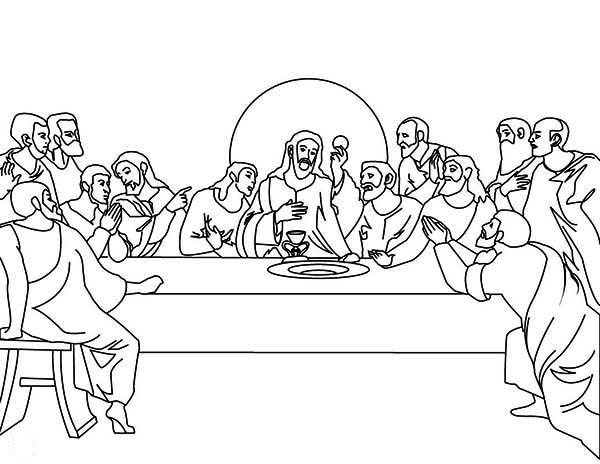 600x464 The Last Supper Coloring Page For Kids