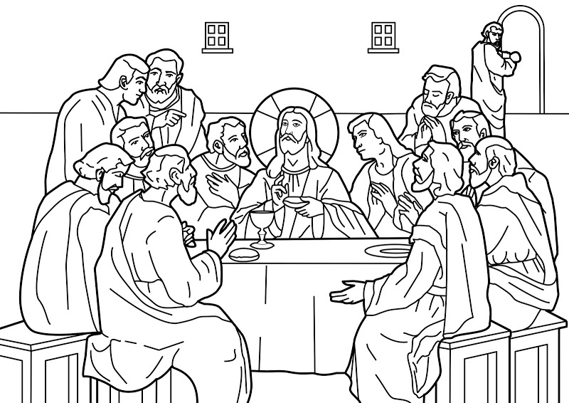 800x566 Neat Design The Last Supper Coloring Pages Printable Of Jesus