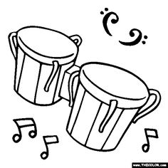 236x236 Instrument Coloring Pages Latin Percussion