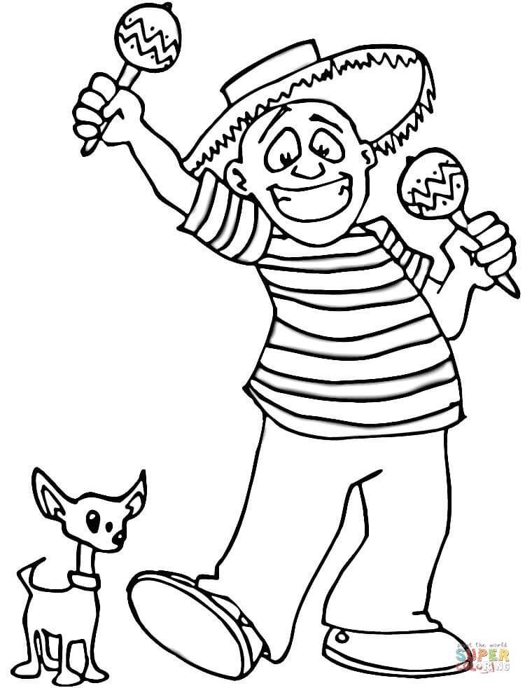 750x982 Latino Playing Maracas With A Little Dog Coloring Page Free