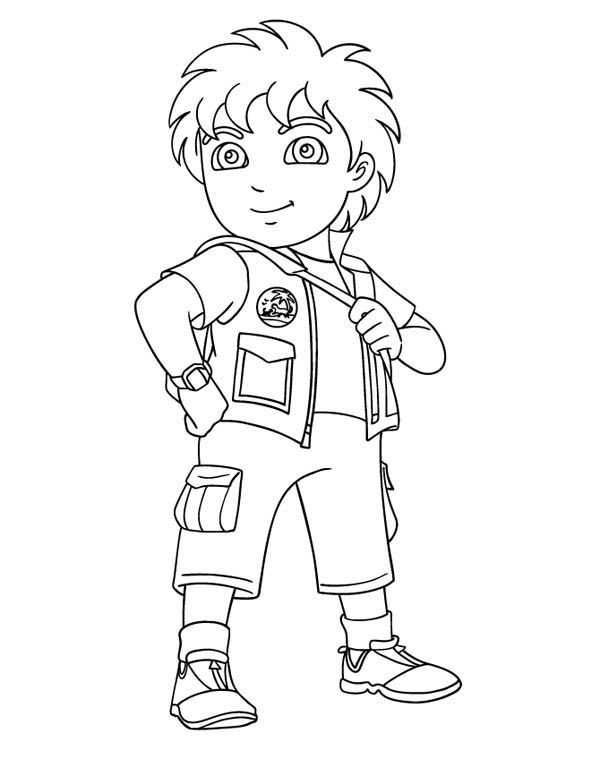 600x776 8 Years Old Latino Boy In Go Diego Go Coloring Page