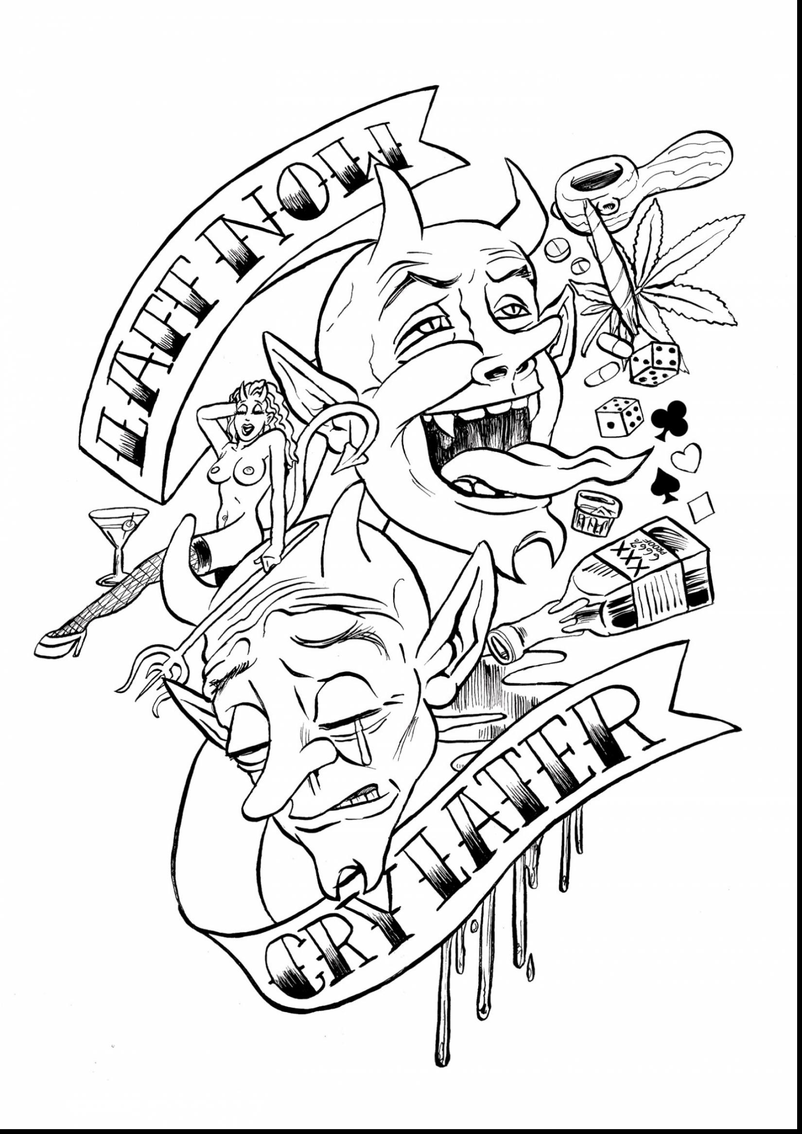 1650x2333 Awesome Laugh Now Cry Later Tattoo Design With Tattoo Coloring