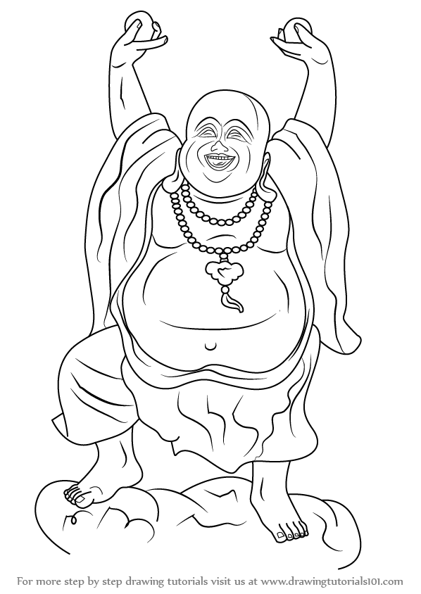 598x844 Learn How To Draw A Laughing Buddha (Buddhism) Step By Step