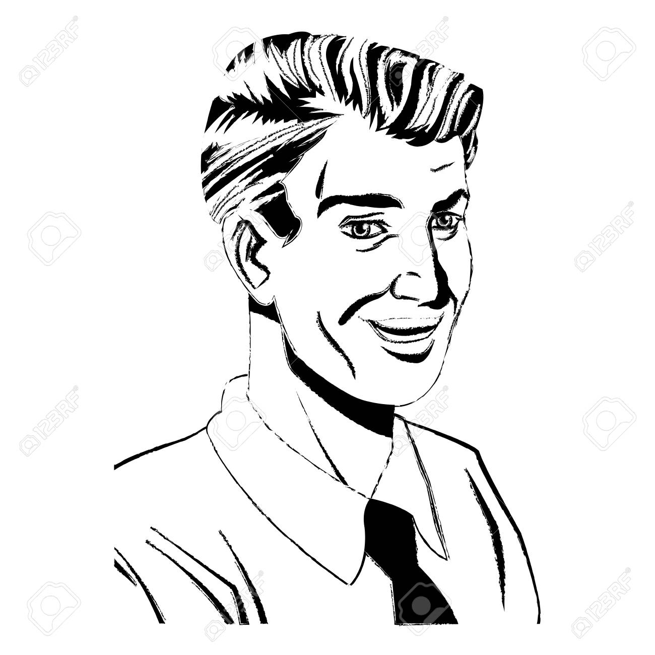 1300x1300 Pop Art Man Laughing Wearing Shirt And Tie Sketch Vector