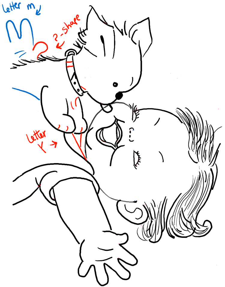 750x959 How To Draw A Cute Baby And Puppy Licking His Face Drawing