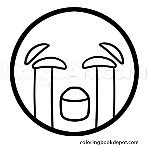 518x511 How To Draw The Crying Laughing Emoji Coloring Pages